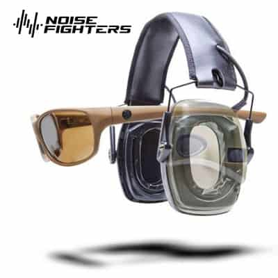Noise Fighters gel ear cups installed on Walker electronic ear muffs